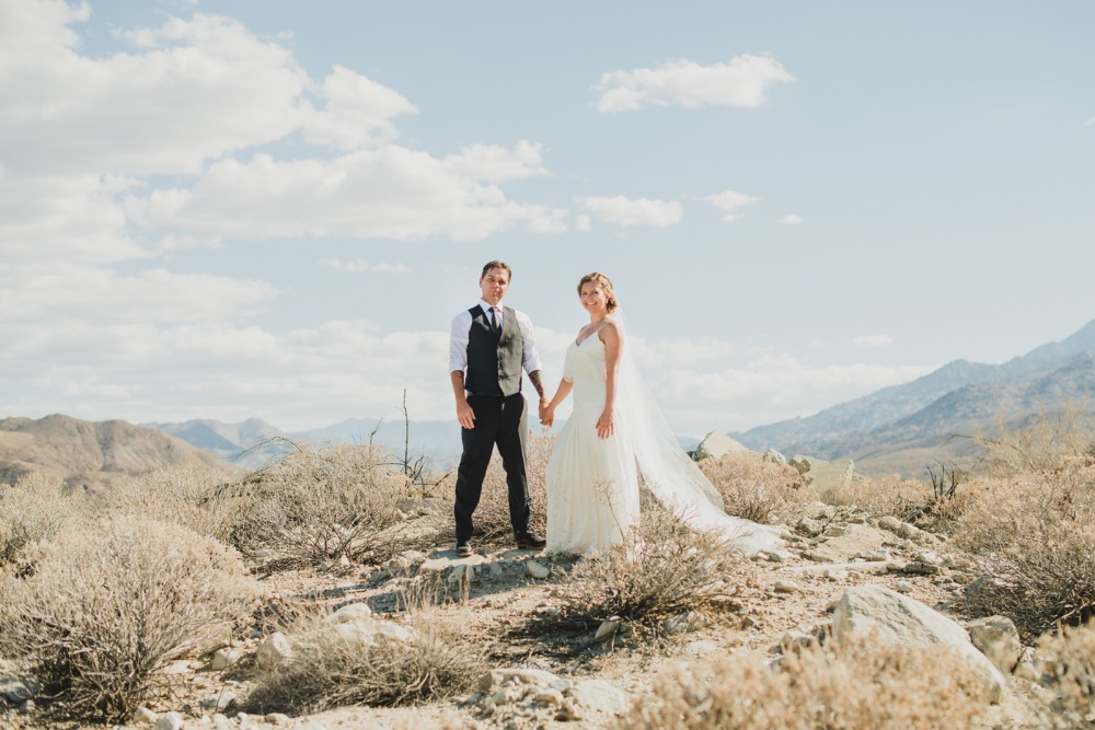 Palm springs desert wedding portrait