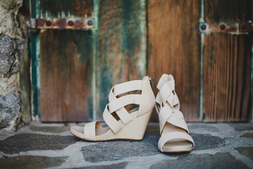 Simple strappy wedding shoes