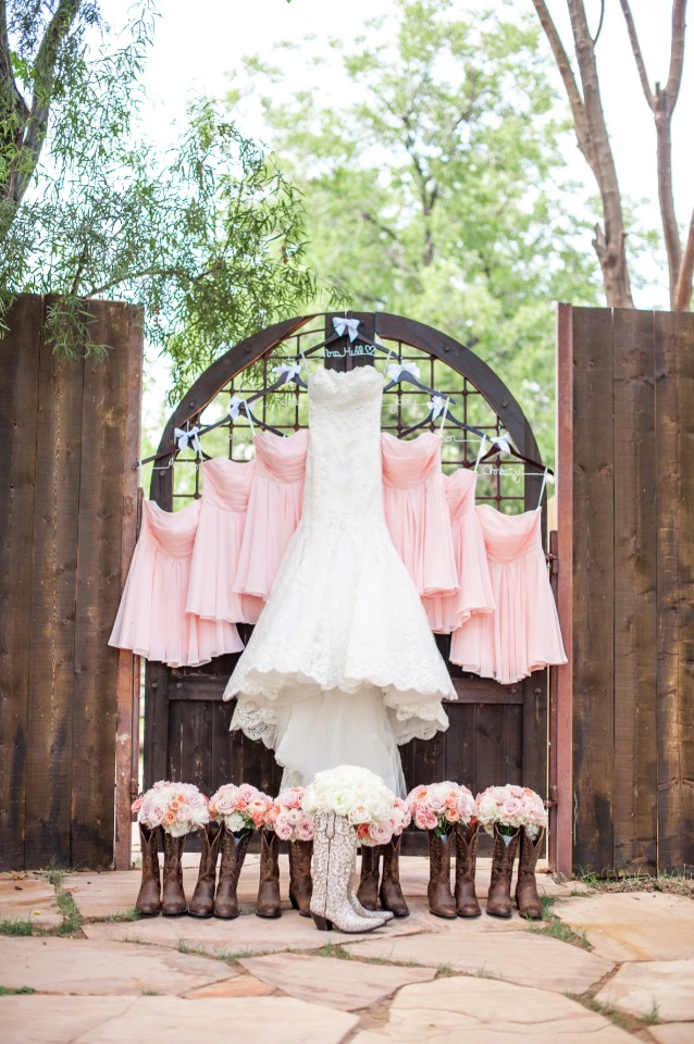 pink bridesmaid dresses and cowboy boots