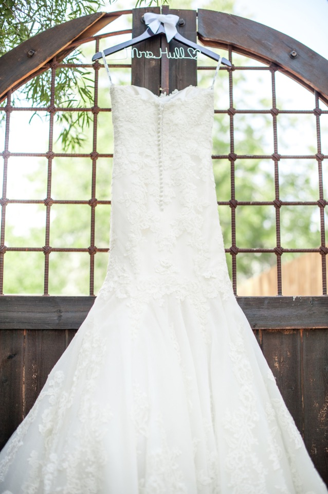 wedding dress with custom dress hanger