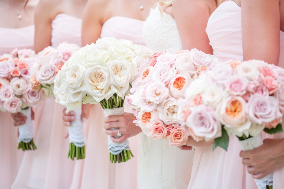 soft pink and peach wedding bouquets