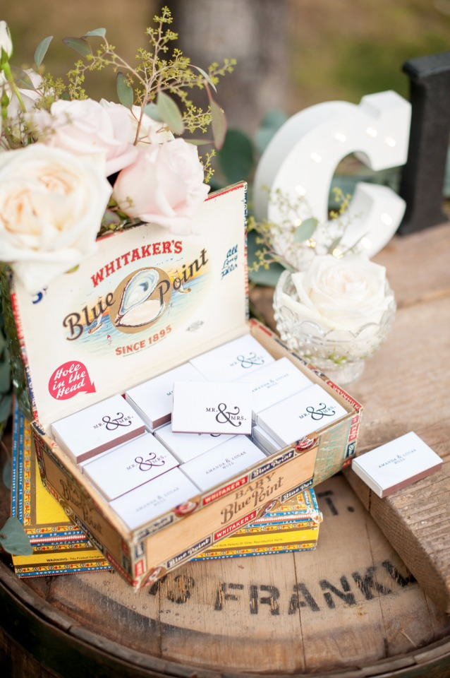 wedding favor match boxes