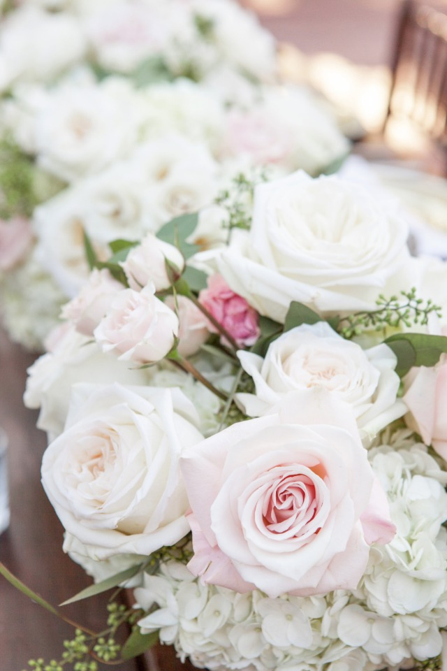 blush and white wedding arrangements