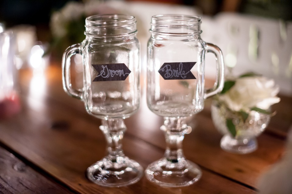 fancy mason jar goblets for the bride and groom