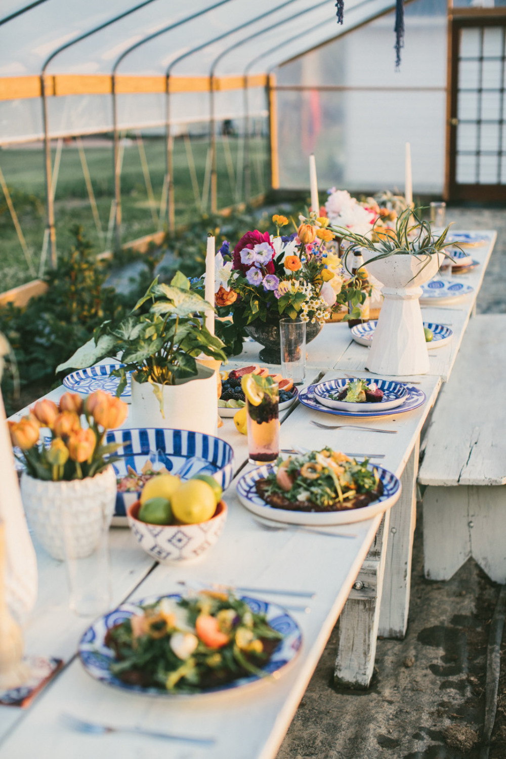 greenhouse farm wedding reception