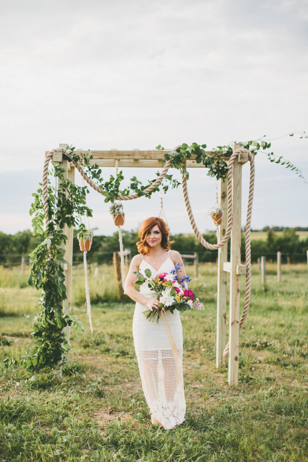 diy wedding chuppah with rope