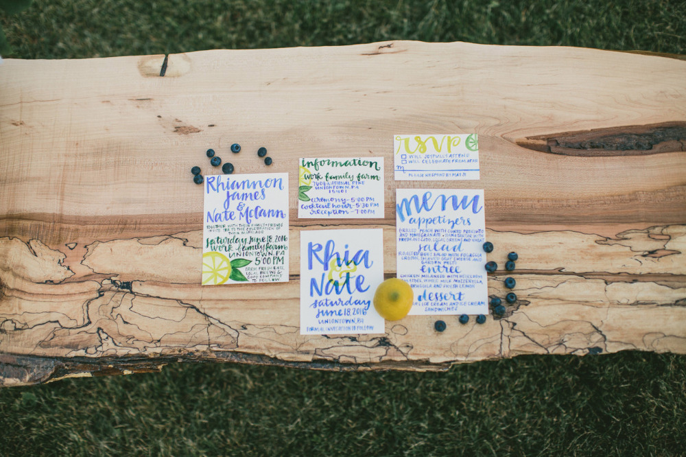 blue lemon wedding stationery