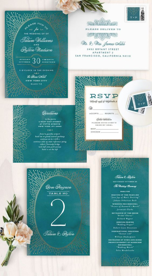 teal wedding invites