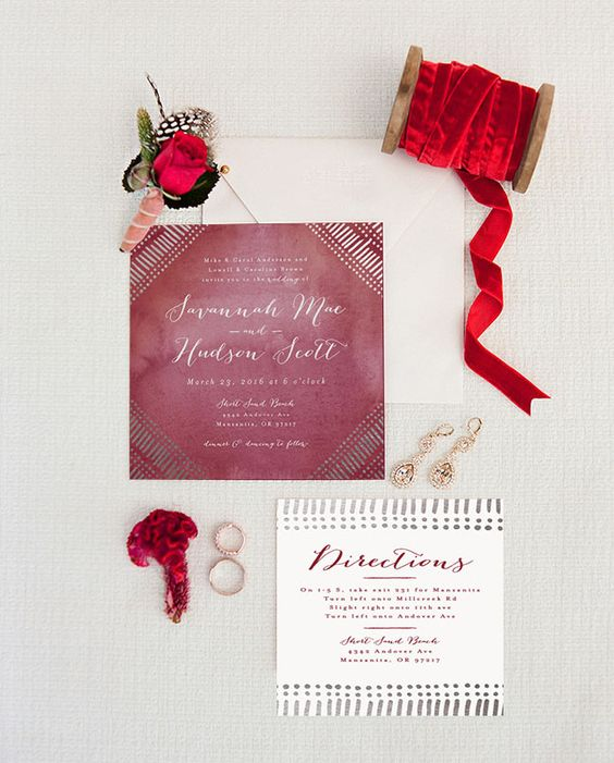 Indigo Ruby Wedding Invites
