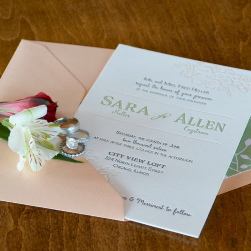 Modern whimsical letterpress wedding invitation suite by Lucky Invitations.