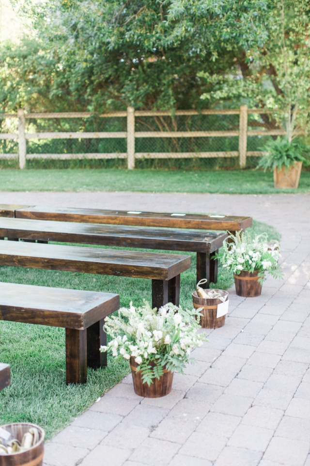 simple wooden bench wedding seating