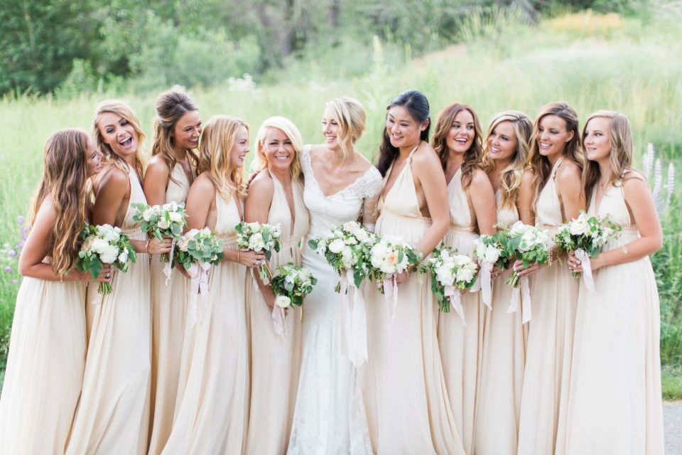 soft champagne floor length bridesmaid dresses