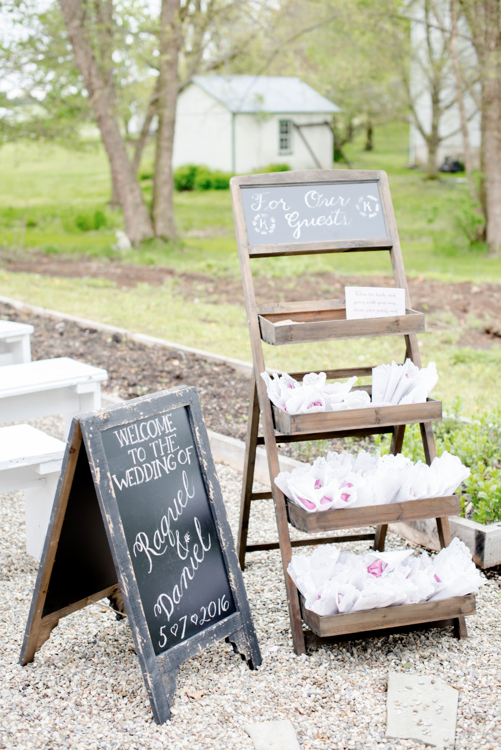 wedding chalkboard sign and flower toss petals