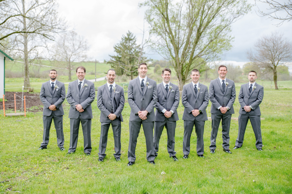 grey groomsmen suit attire