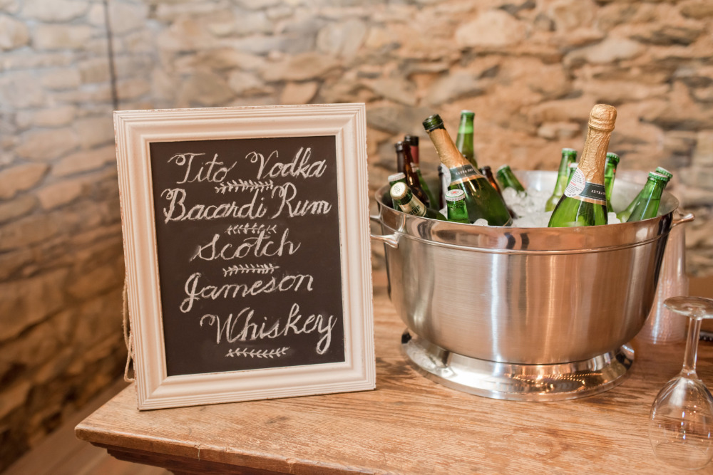 wedding drinks chalkboard sign