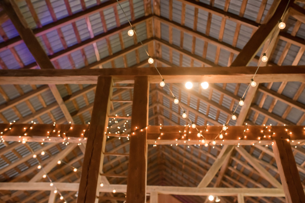 wedding reception barn lighting