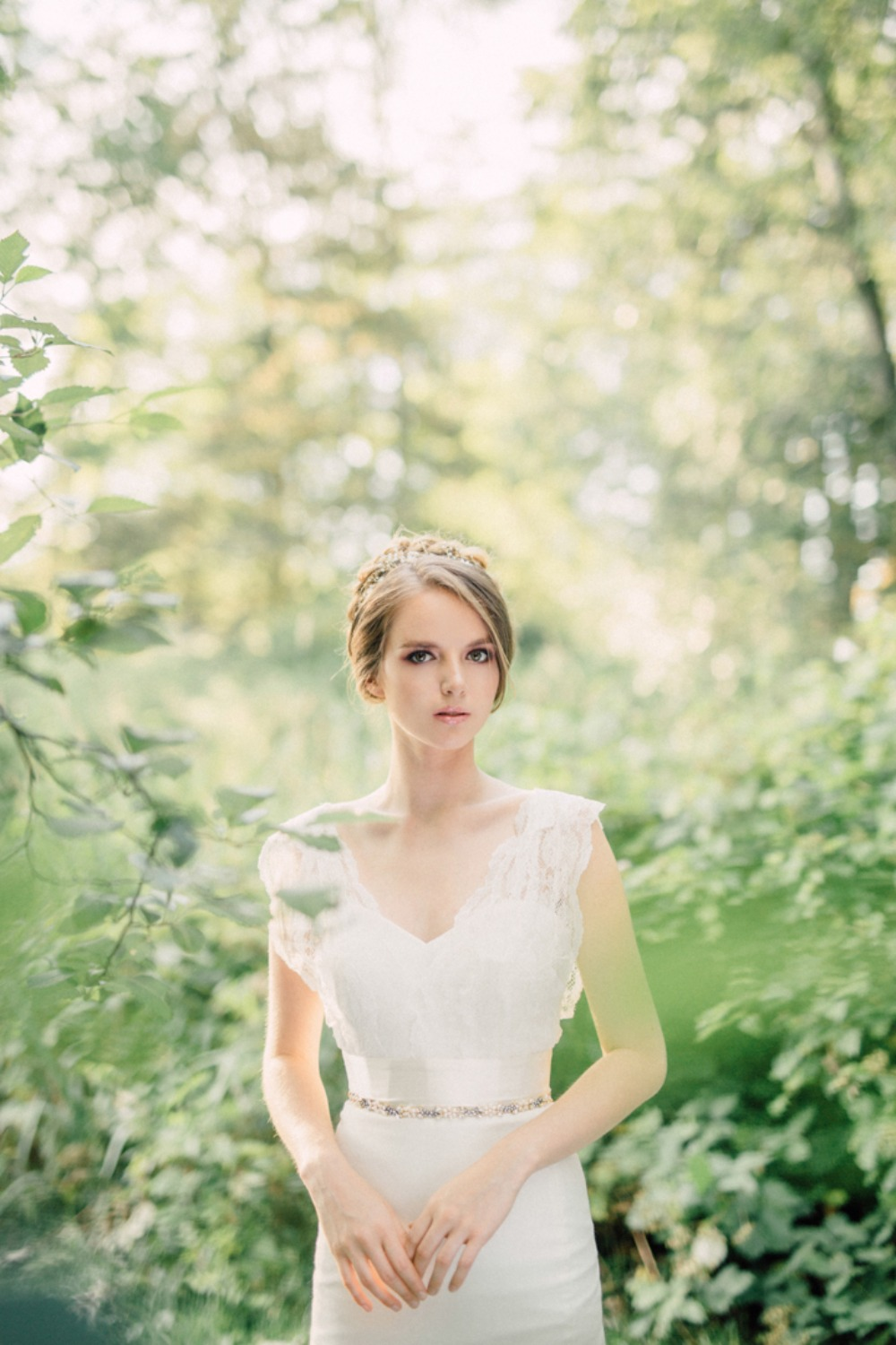 Bridal portrait in the woods