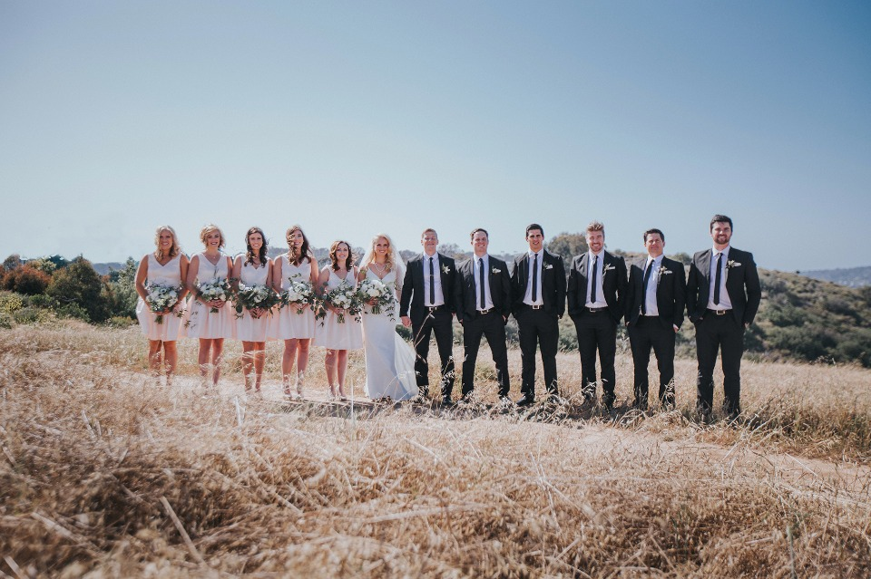 classic black and white wedding party