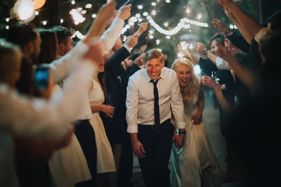 bride and groom with their sparkler exit