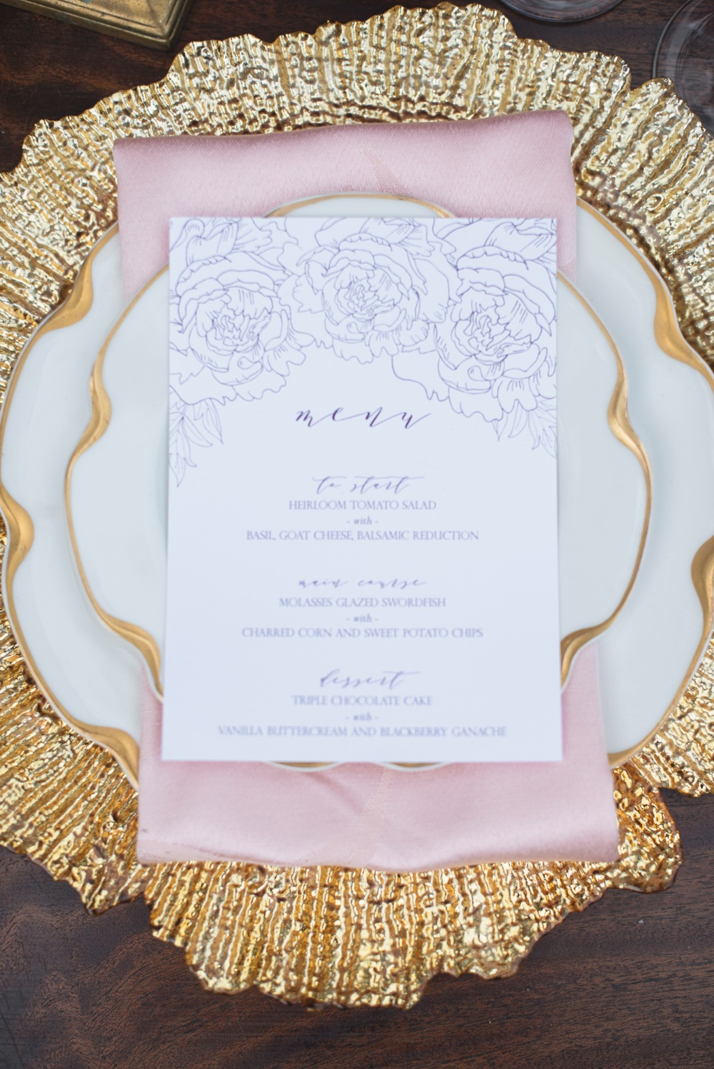 Lavender, blush and gold table details