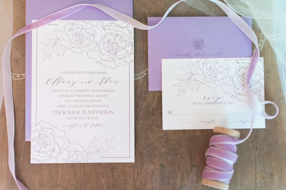 Lavender invitation suite