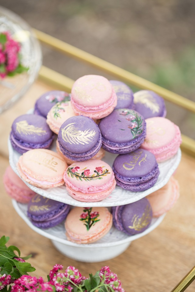 pink and purple hand painted macarons