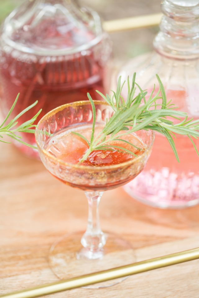 gold rimmed wedding cocktail