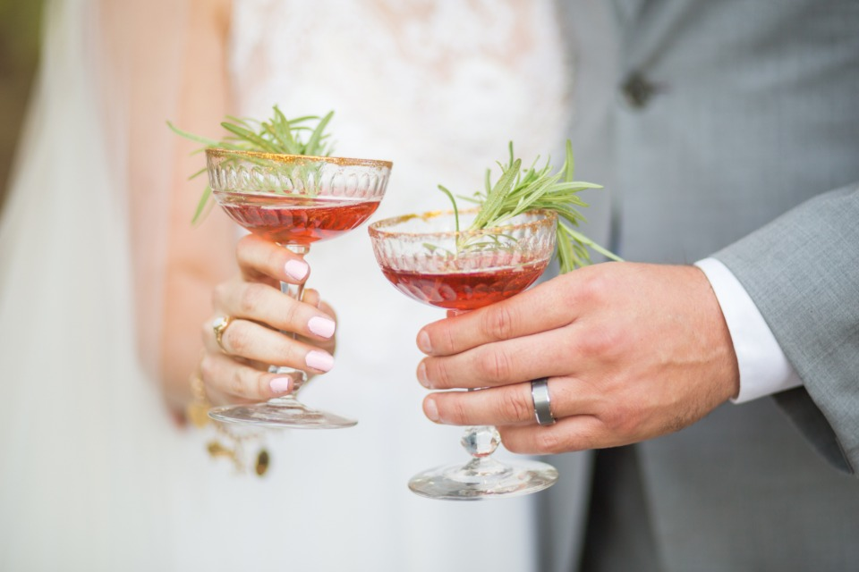 rosemary garnished wedding cocktail