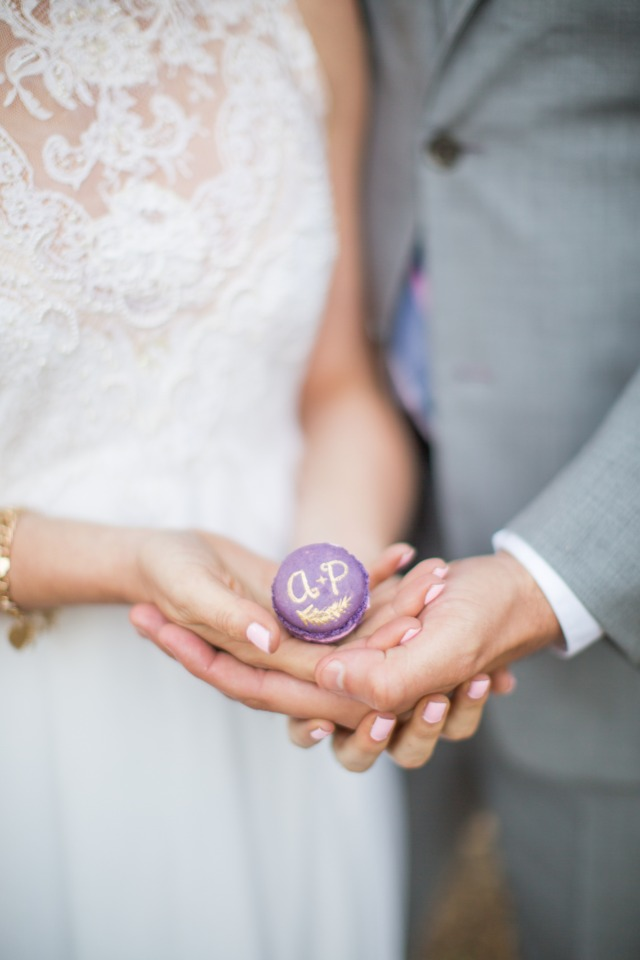 wedding initials on a hand painted macaron