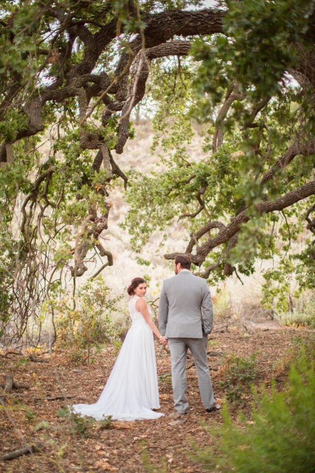 romantic wedding photos under a tree