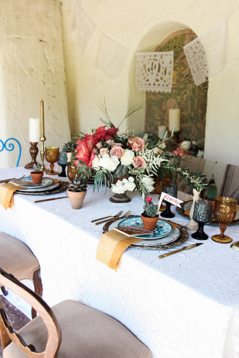 Old world Mexico inspired table decor