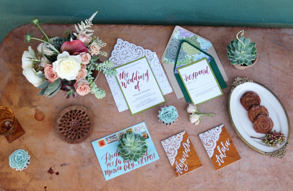 Water color calligraphy invitation suite
