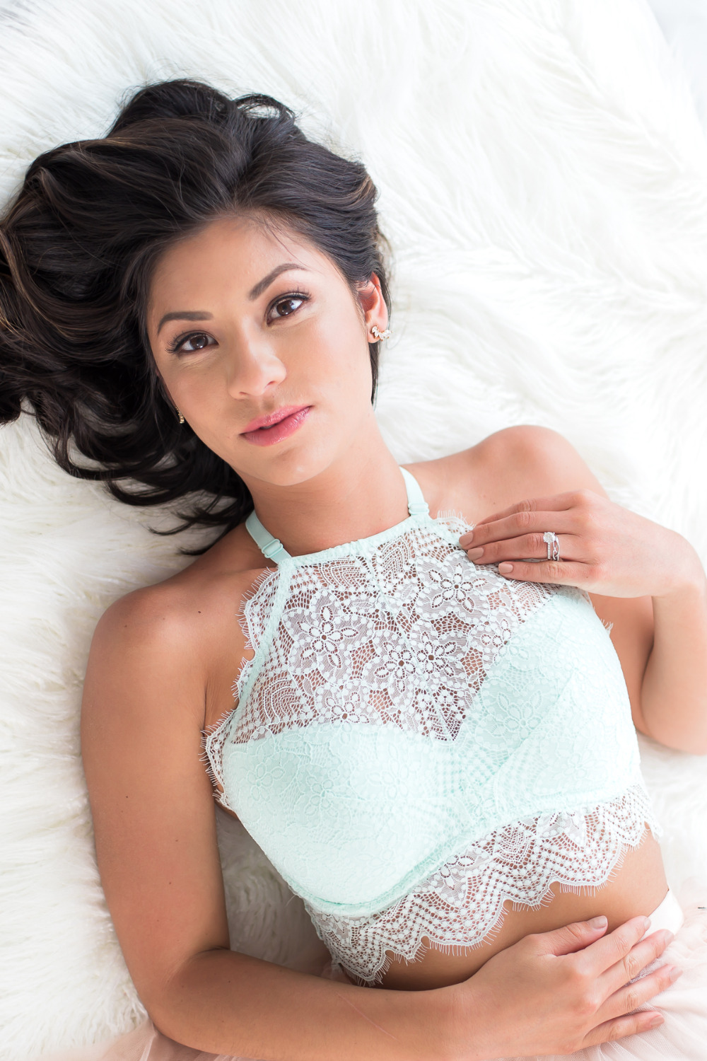 mint lace boudoir bridal shower outfit