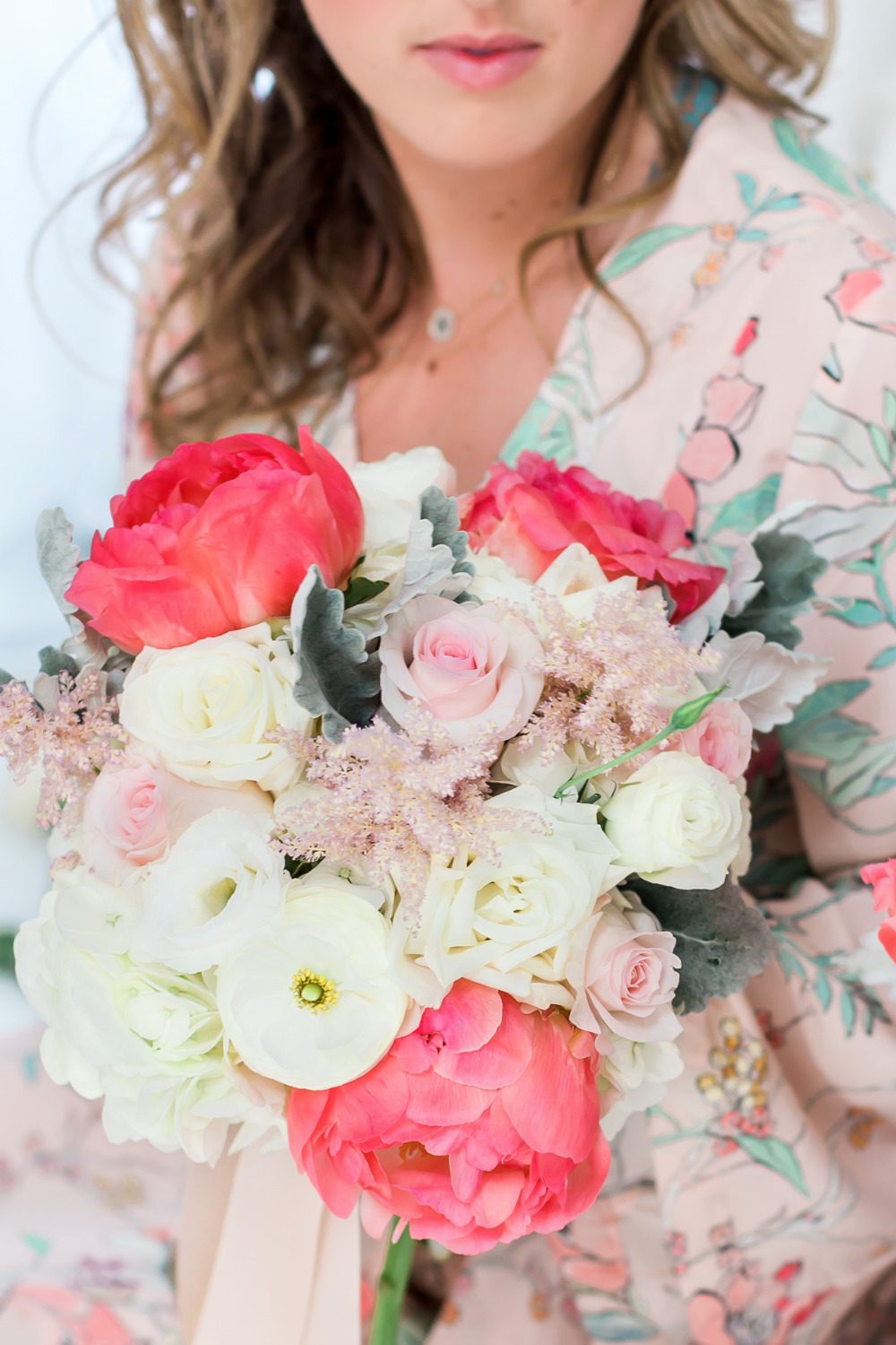 peony rose and ranunculus wedding bouquet