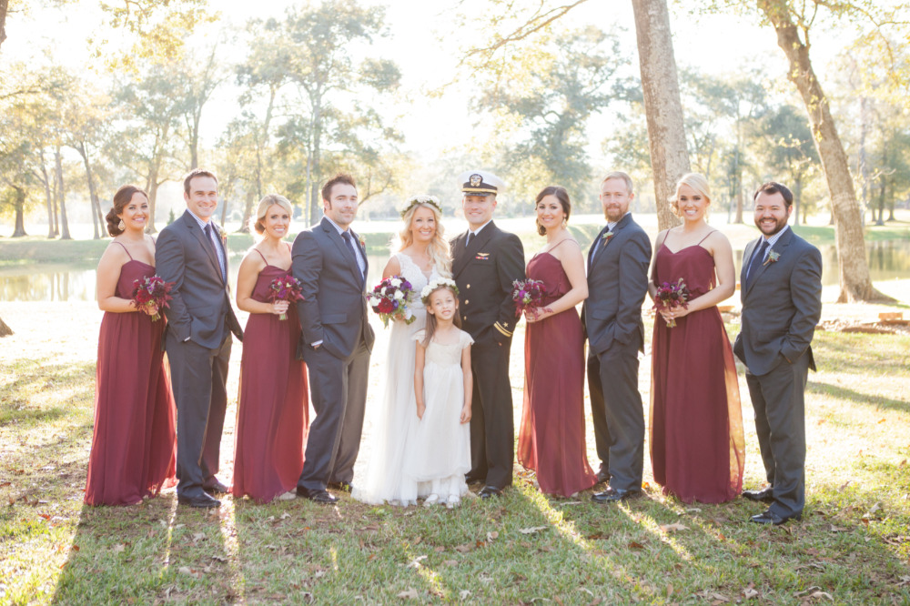 red and grey wedding party attire