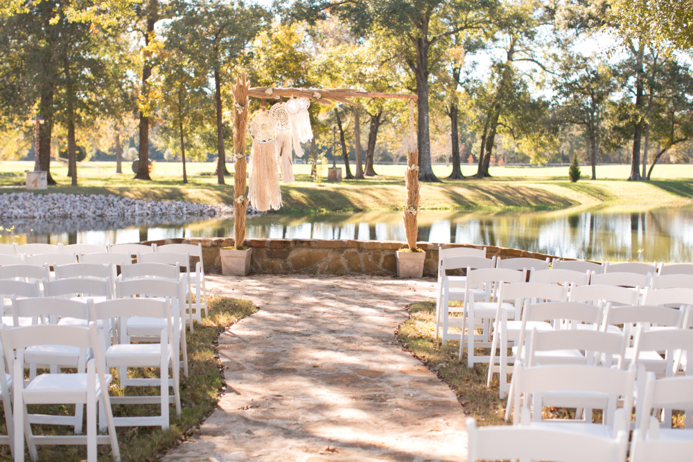 outdoor wedding ceremony in the sunshine
