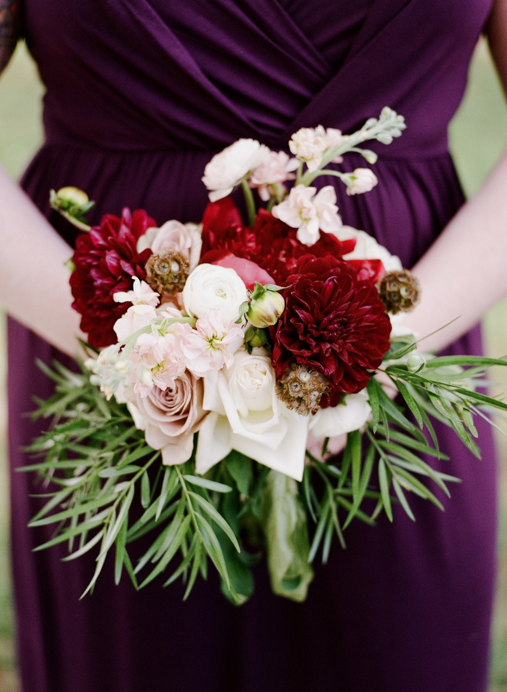 Maroon and blush bouquet