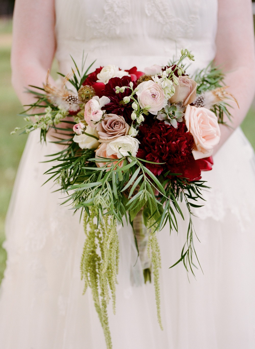 Maroon and blush wedding bouquet