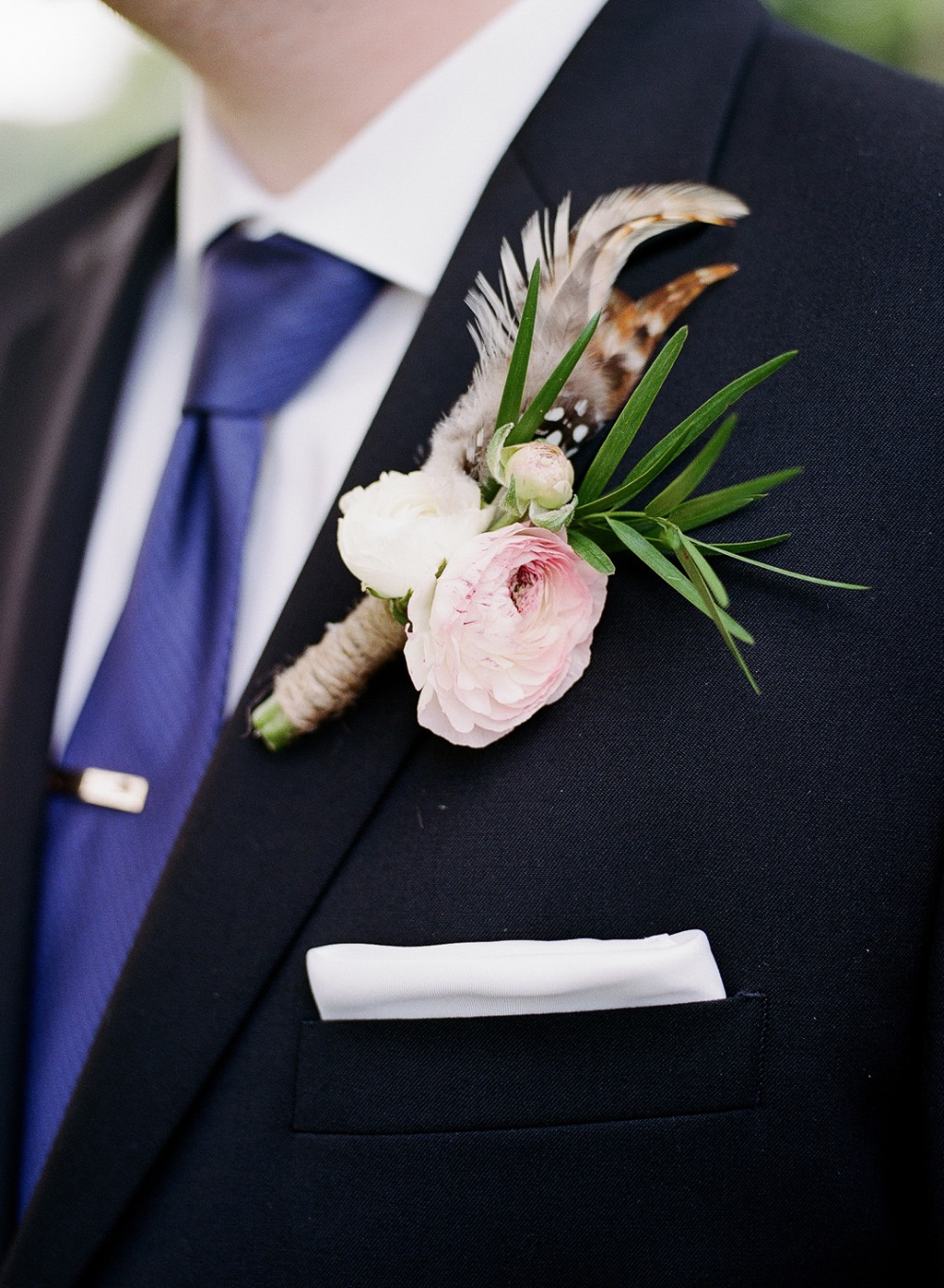 Owl feather boutonniere