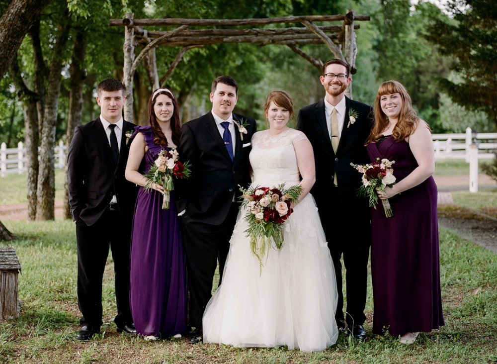 Maroon and purple wedding party