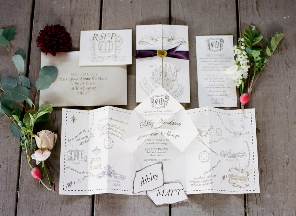 Fun Harry Potter themed wedding invitation suite