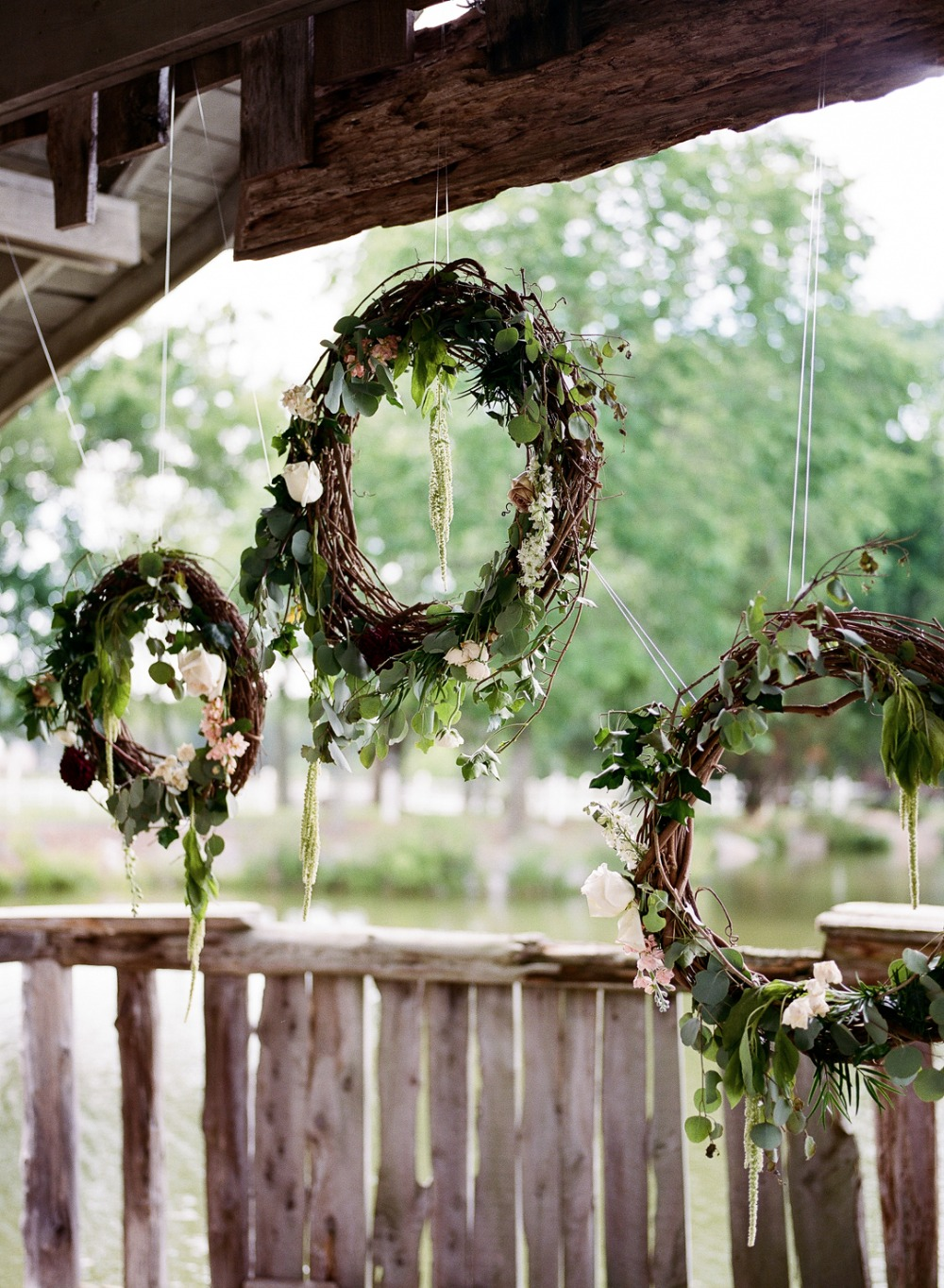 Floral wreaths ceremony backdrop