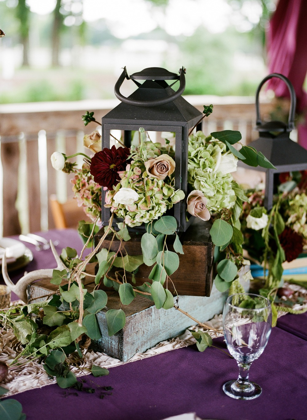 Gorgeous floral and lantern centerpiece