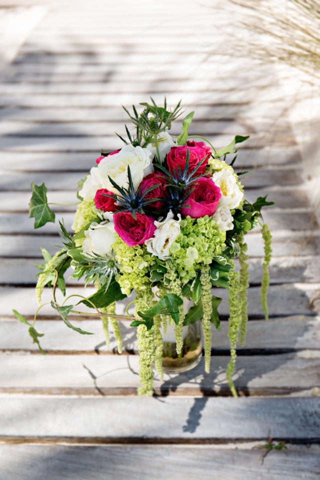 white green and pink wedding bouquet