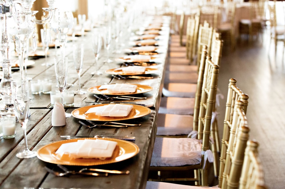 family style gold glam table decor