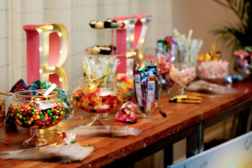 BK wedding candy bar with marquee sign