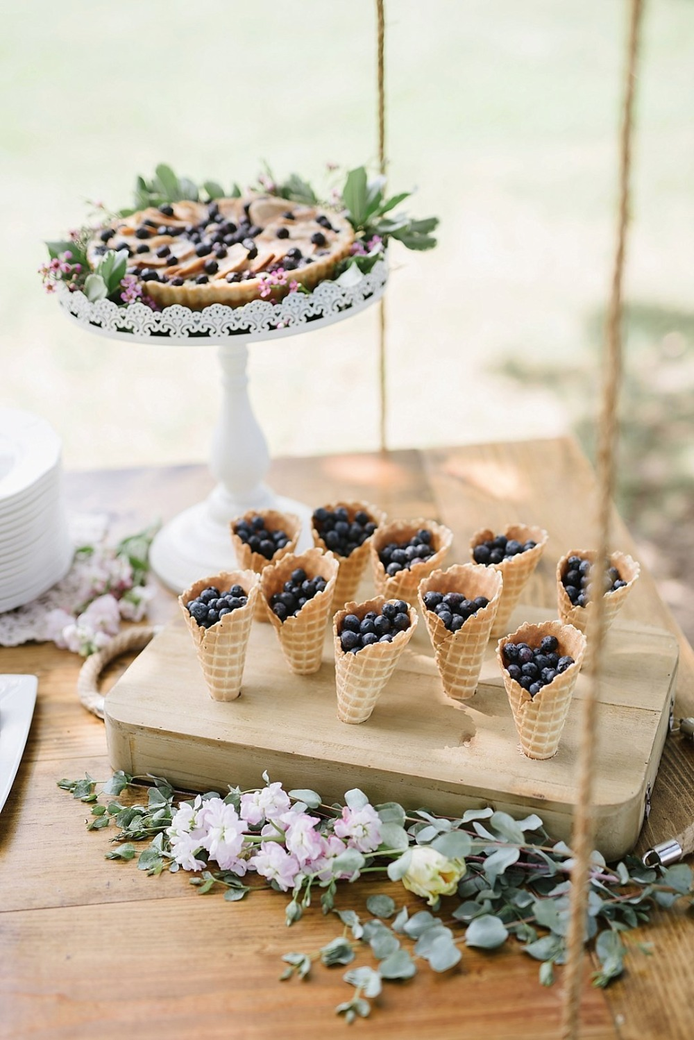 Blueberry filled ice cream cones