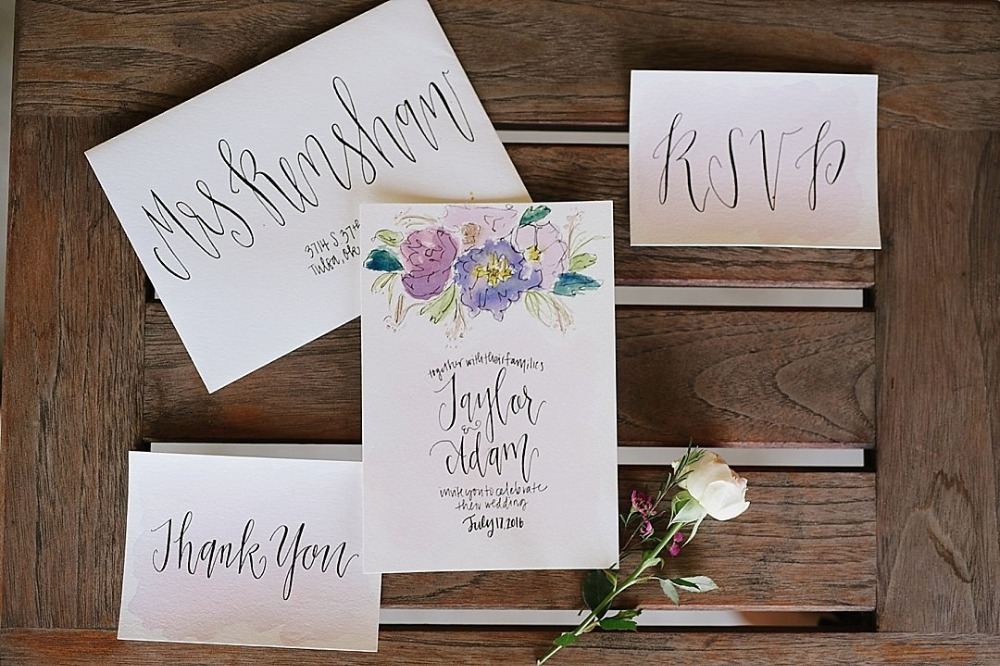 Floral calligraphy invitation suite