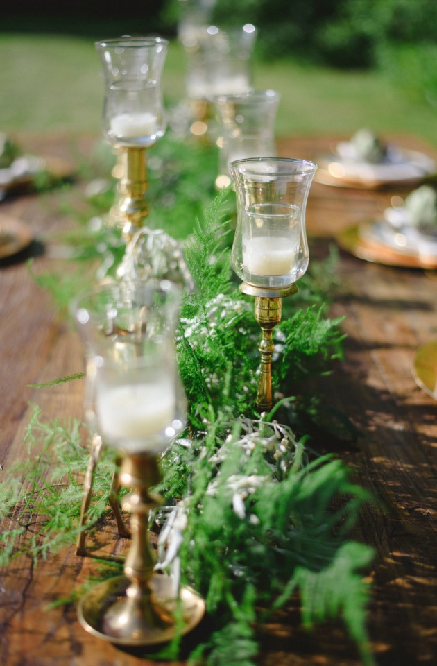 greenery garland and candle table centerpiece