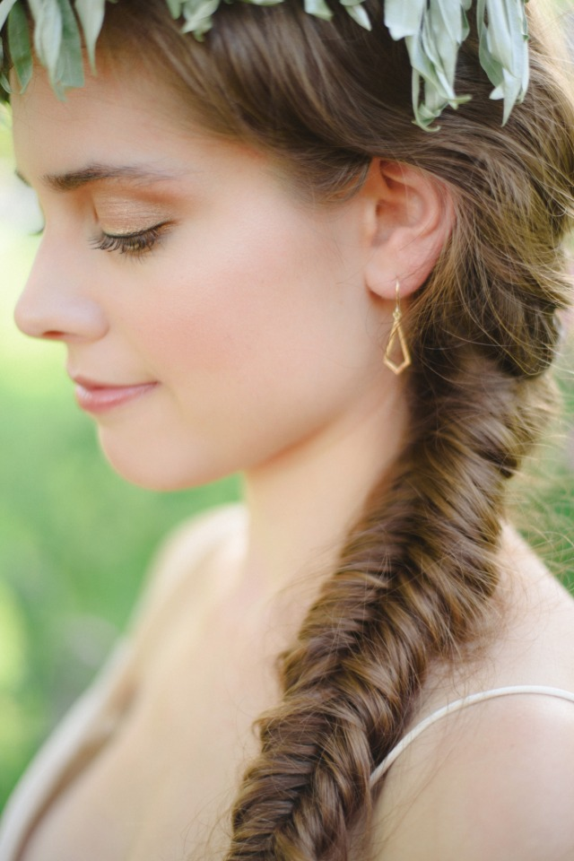 fishtail braid and wedding earrings